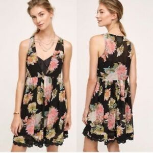 Anthropologie Maeve Violetta Dress Black Floral S